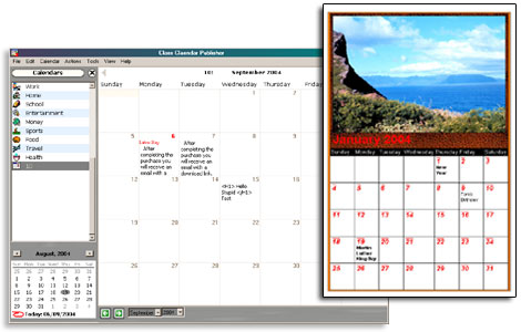 Generate HTML calendars visitors can view, print and read with RSS reader. Organize your life and keep your company, school or church informed of upcoming events. Ideal for students, coaches, and teachers to keep online schedules.