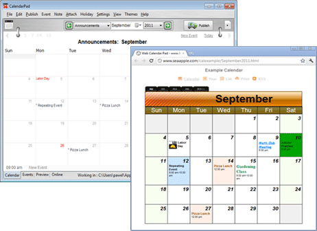 online calendar for your website